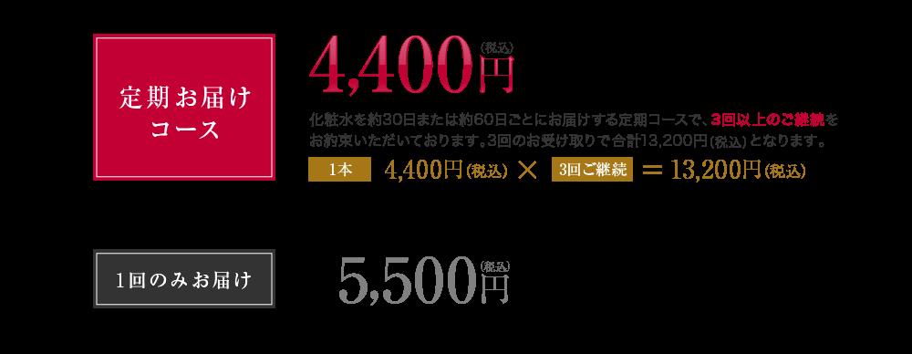 定期お届けコース 4,400円(税込) 1回のみお届け 5,500円(税込)