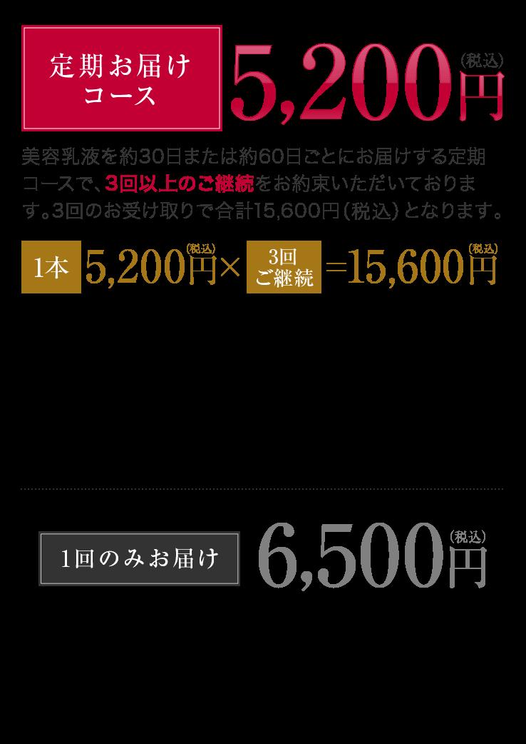 定期お届けコース 5,200円(税込) 1回のみお届け 6,500円(税込)